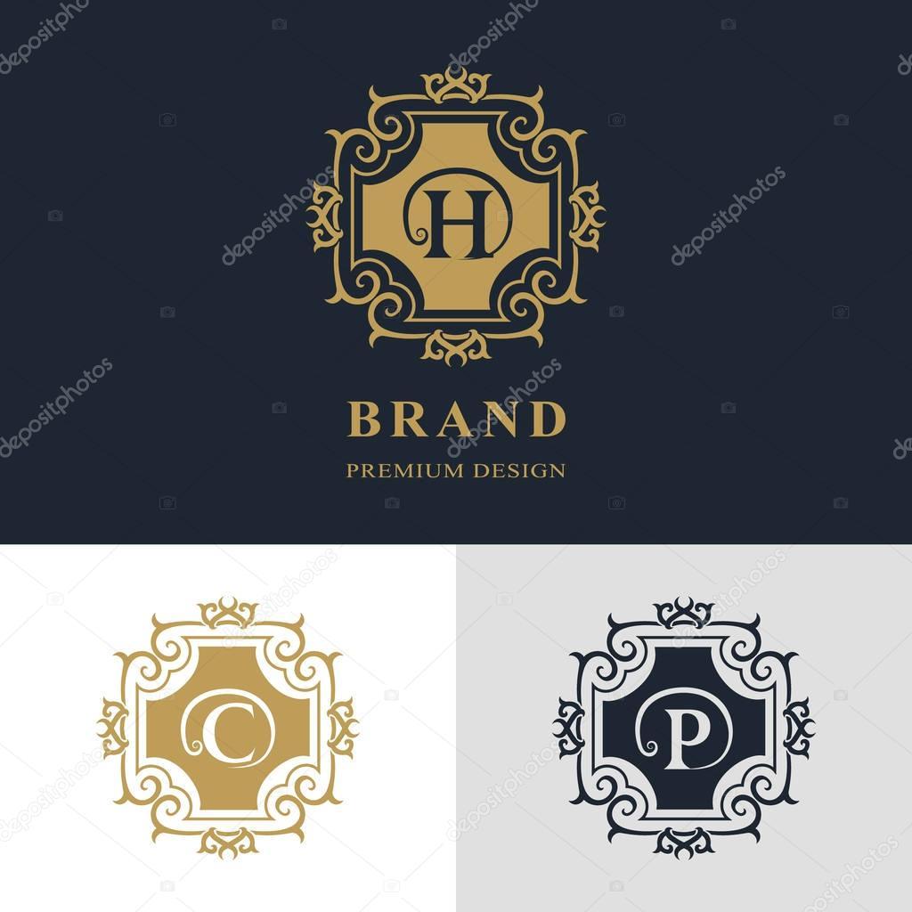 Cration De Logo Dart Calligraphique Ligne Lgante Lettre Emblme Signe H C P La Royaut Carte Visite Boutique Htel Hraldique Bijoux