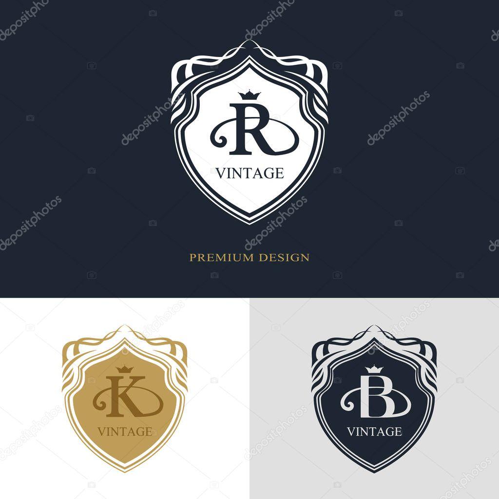 Cration De Logo Dart Calligraphique Ligne Lgante Lettre Emblme Signe R K B La Royaut Carte Visite Boutique Htel Hraldique Bijoux