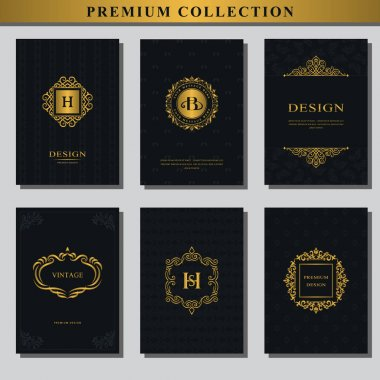 Set of gold emblems. Collection of design elements, labels, icon, frames, for packaging, design of luxury products. Logo design for business cards, brochures, booklets, flyers. Vector illustration
