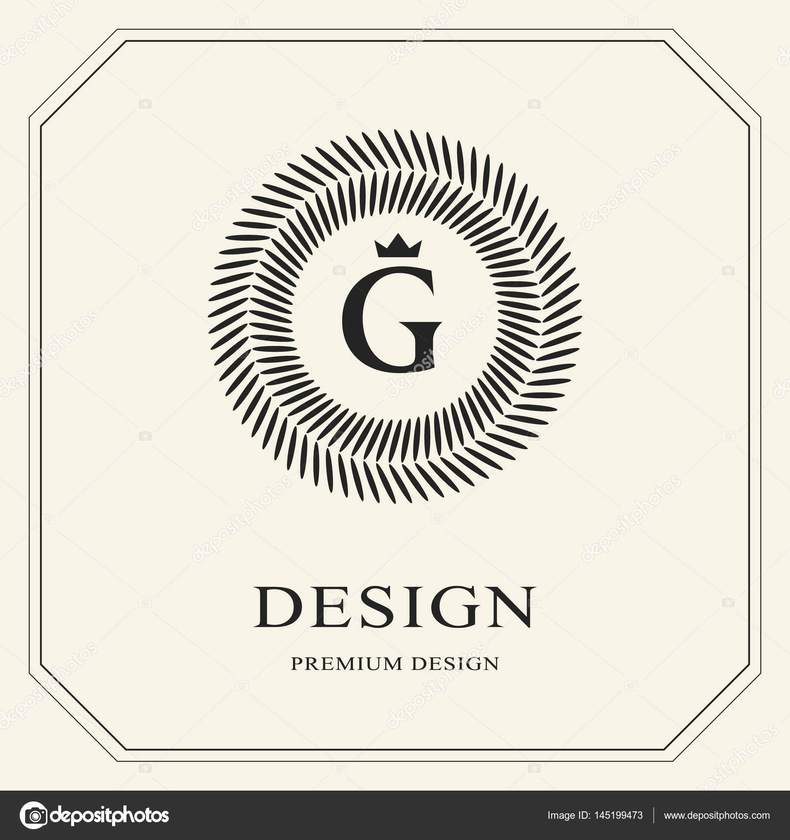 Abstract Monogram Round Template Modern Elegant Luxury Logo Design