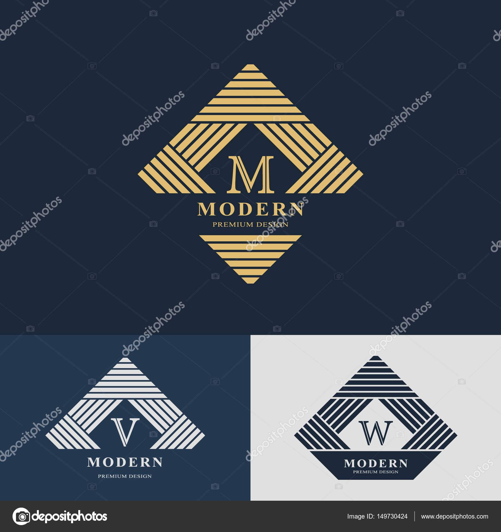 Modernes Logo-Design. Geometrische lineare Monogramm Vorlage. Brief ...