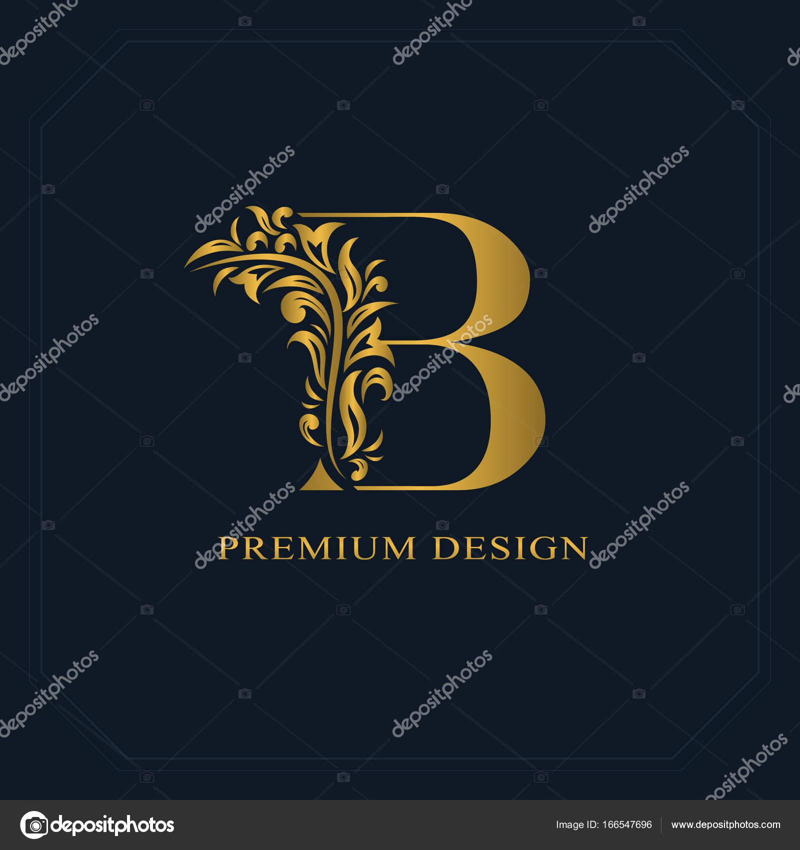 Gold Elegant letter B. Graceful style. Calligraphic beautiful logo ...