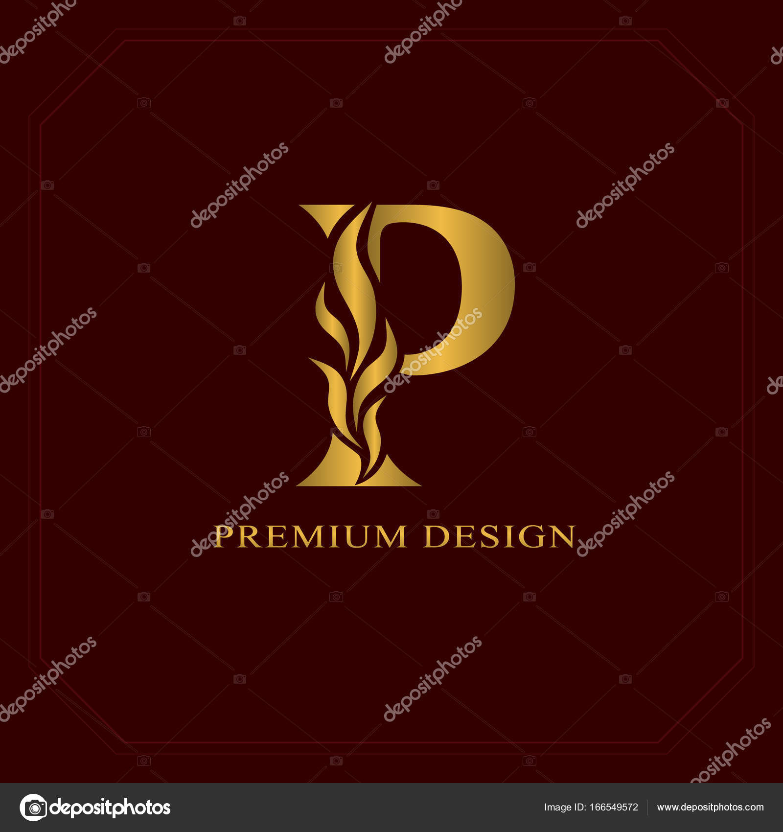 Gold Elegant Letter P Graceful Style Calligraphic Beautiful Logo Vintage Drawn Emblem For Book Design Brand Name Business Card Restaurant Boutique