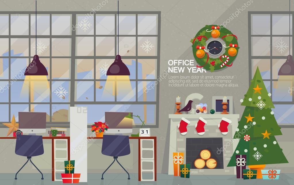 Decorazioni Ufficio Natale : Luogo di lavoro interno della ufficio moderno con decorazioni per