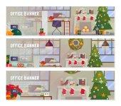 Vektor plochý design koncepty Office vnitřní pracoviště s dekorací