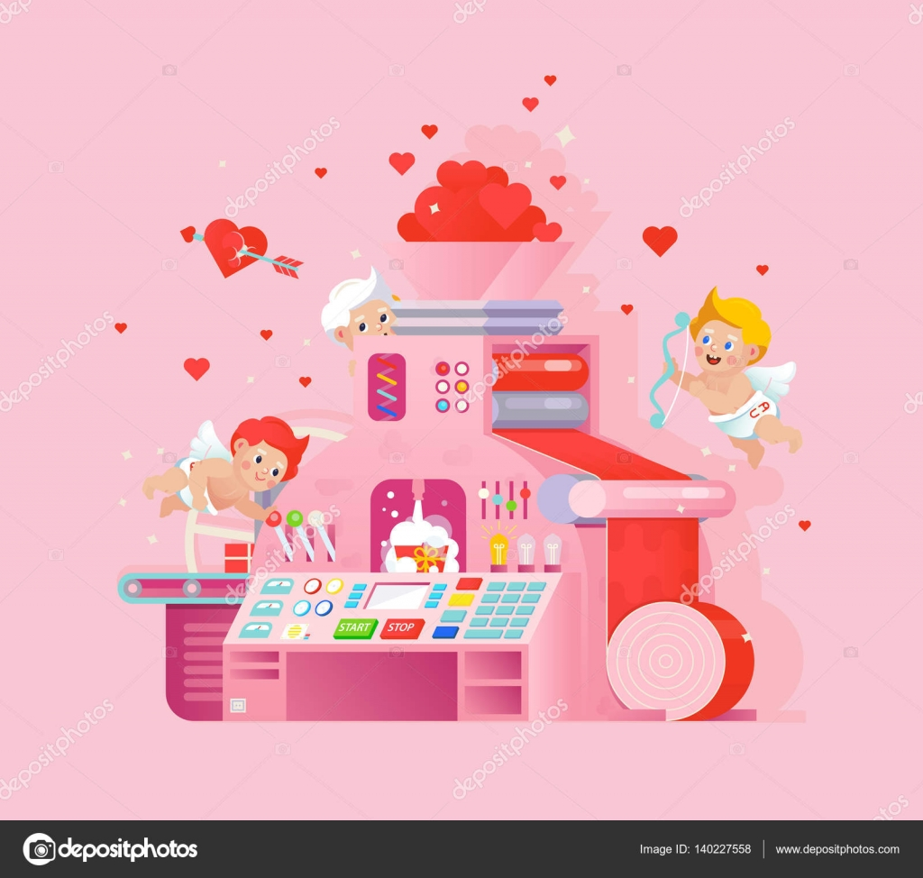 Vector valentines day greeting card with cupids workplace love gift creative valentine card design cupids workplace cupid shoots a heart bow on pink background love print with conveyor machine process vector by vivali m4hsunfo