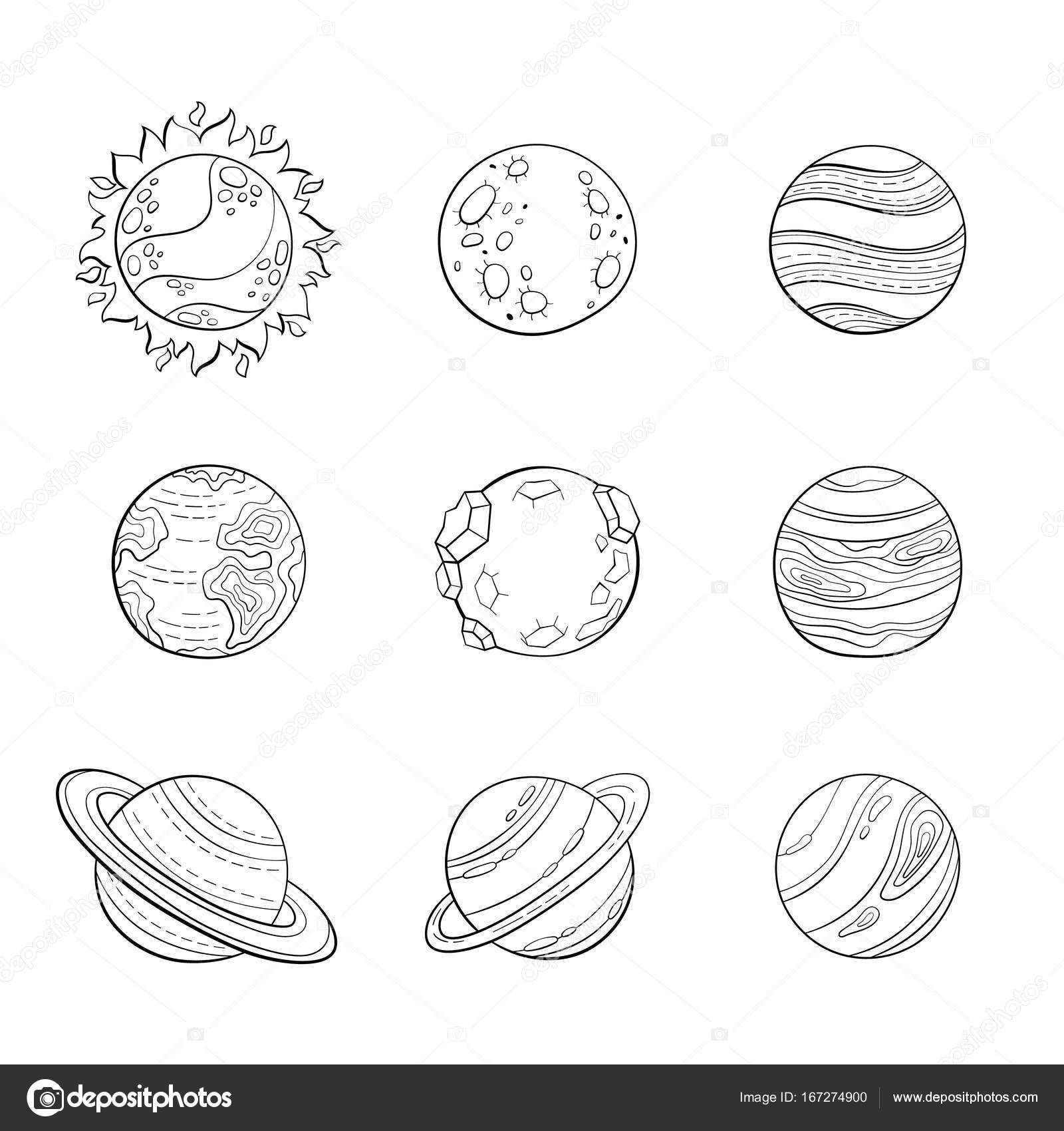 Vector cartoon planets, education space illustration for adult ...