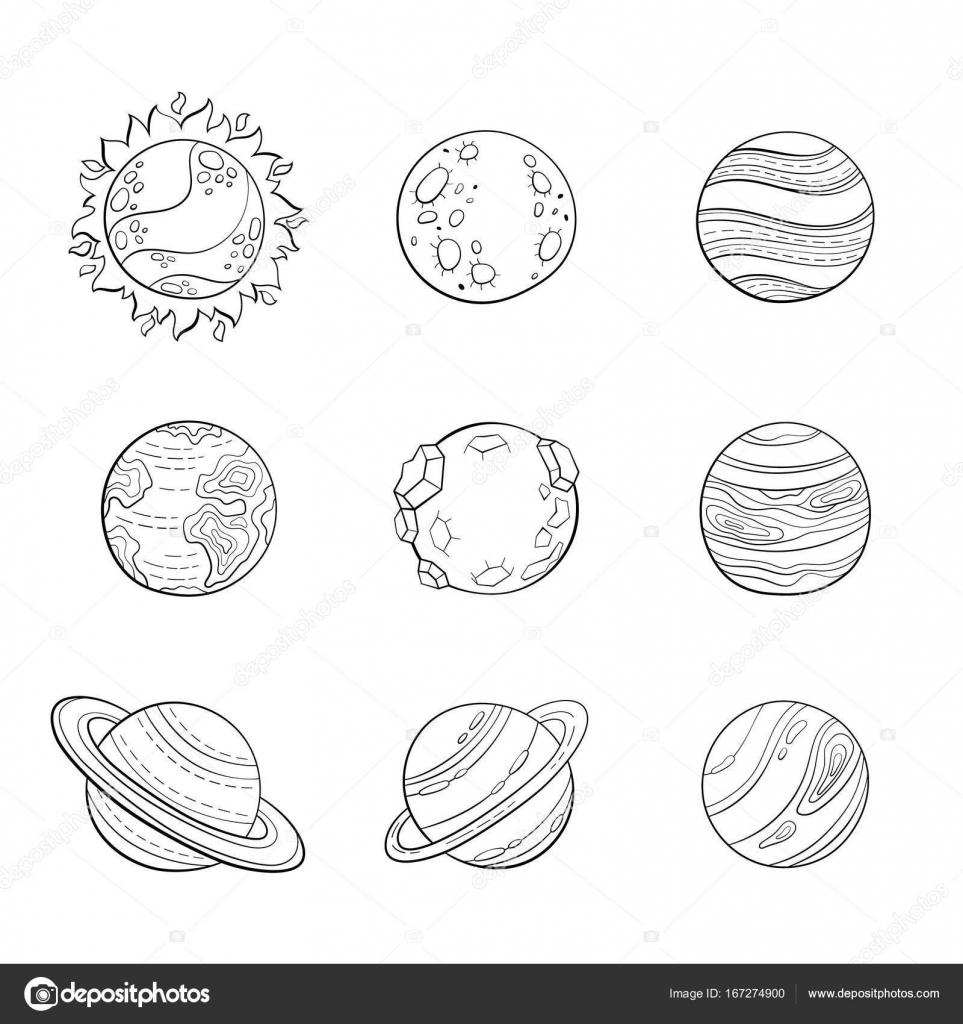 Planetas de dibujos animados de Vector, Ilustración del espacio de ...