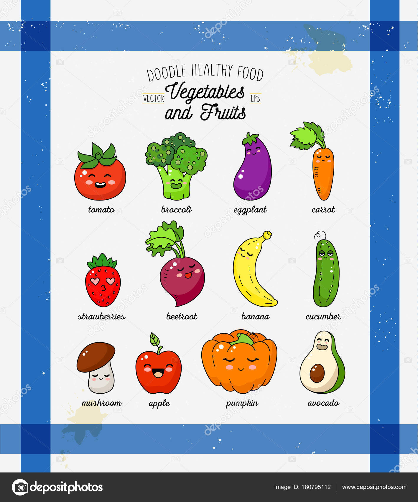 Cartoon funny vegetable characters. Happy smiling vegetable print on ...