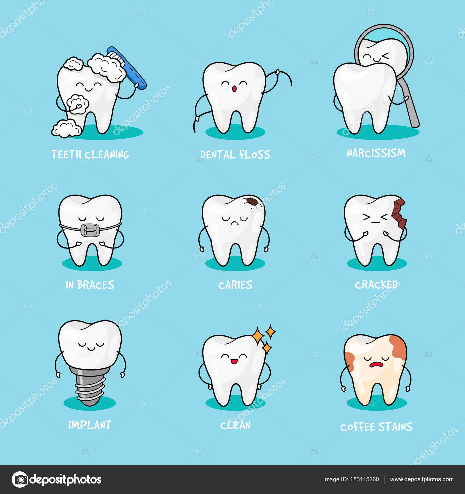 happy teeth set cute tooth characters dental personage