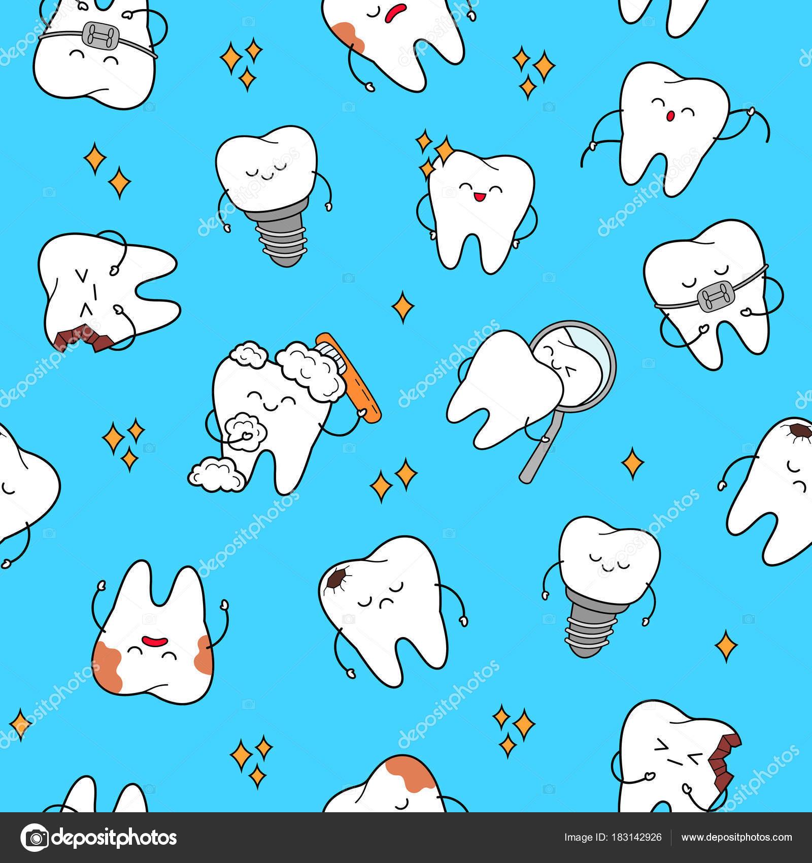 cute dental pattern theme cheerful characters teeth stock vector