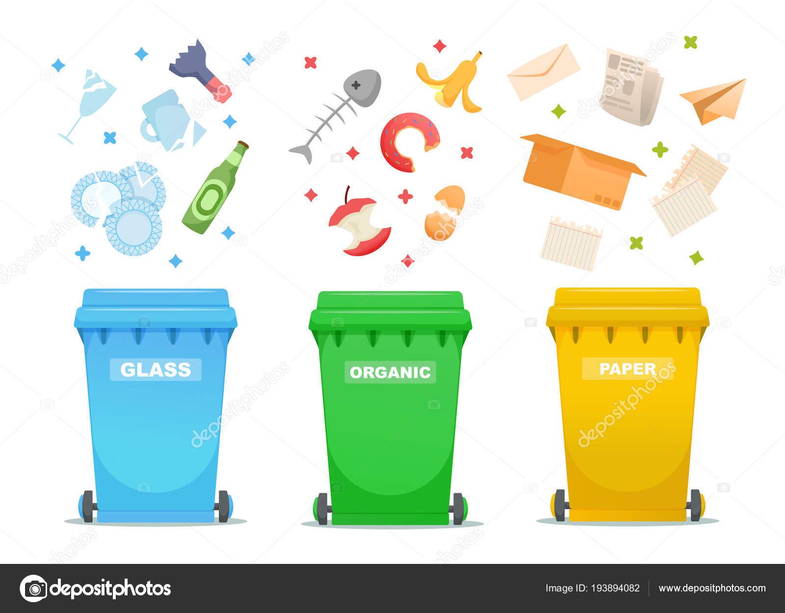 Iconos De Reciclaje Basura, Contenedor De Basura