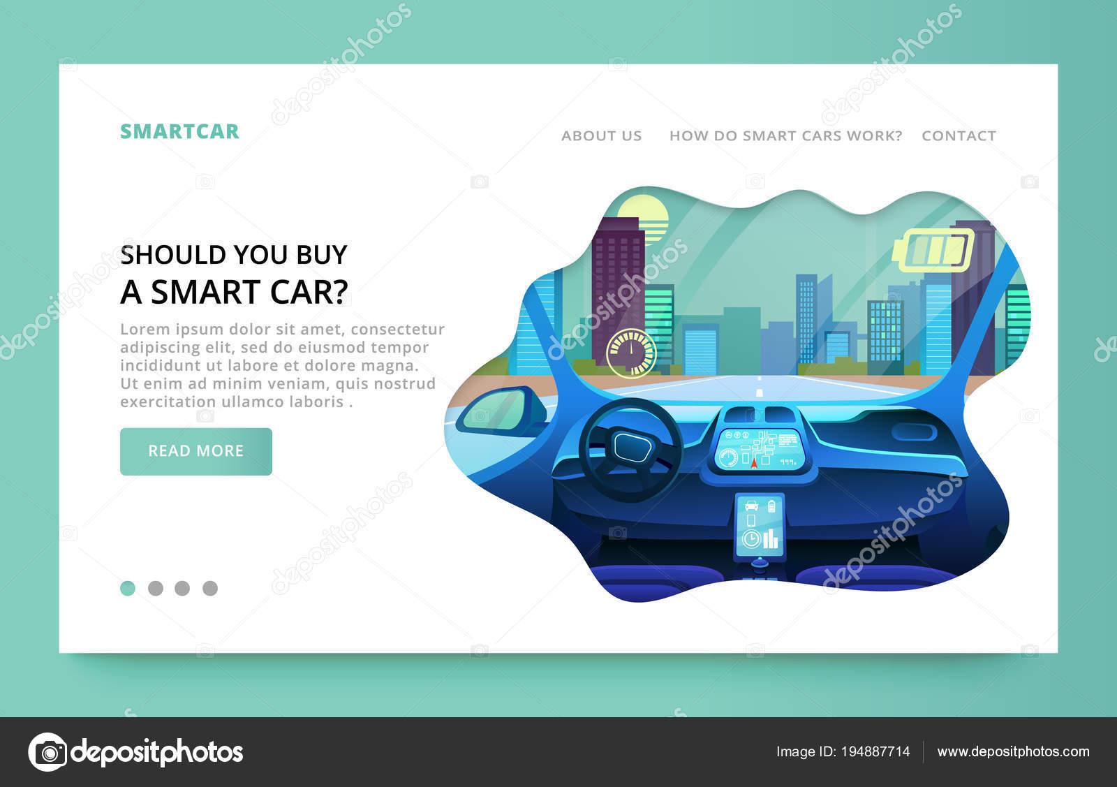 De landing pagina-ontwerp met futuristische auto interieur ...