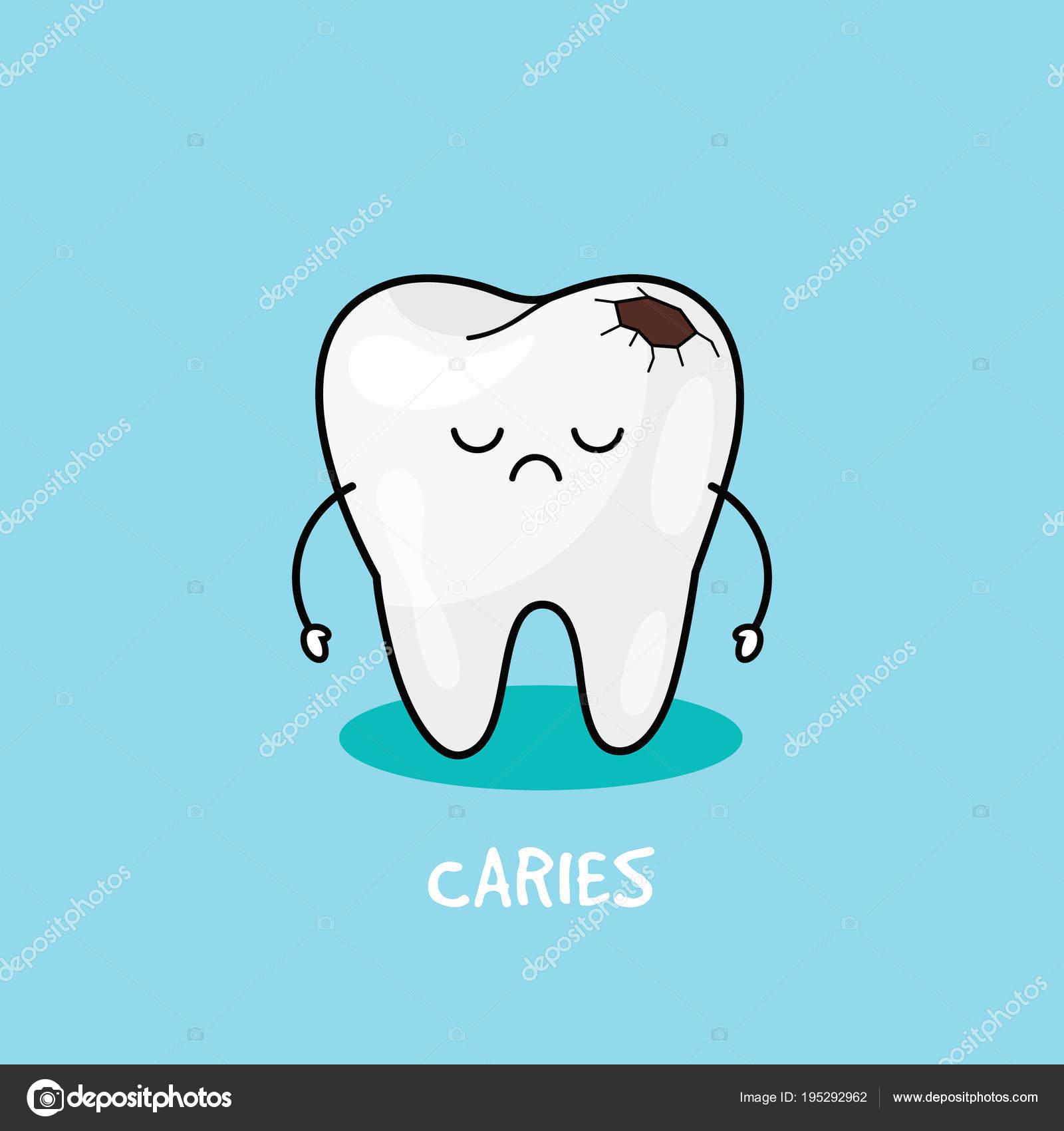 歯の齲蝕のアイコン子供歯科イラスト口腔歯のクリーニング