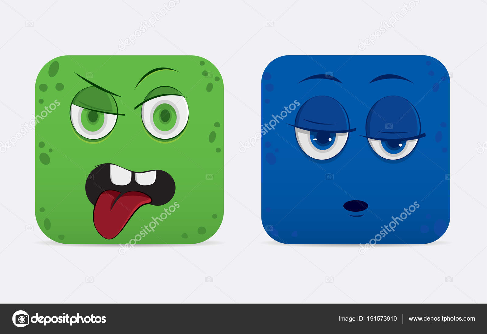 Funny cartoon monster faces — Stock Vector © tinashin #191573910