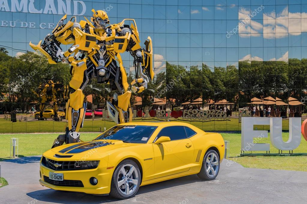 Foz do Iguacu, Brazil - November 22, 2017:  Bumblebee Transformer in front of the Wax Museum
