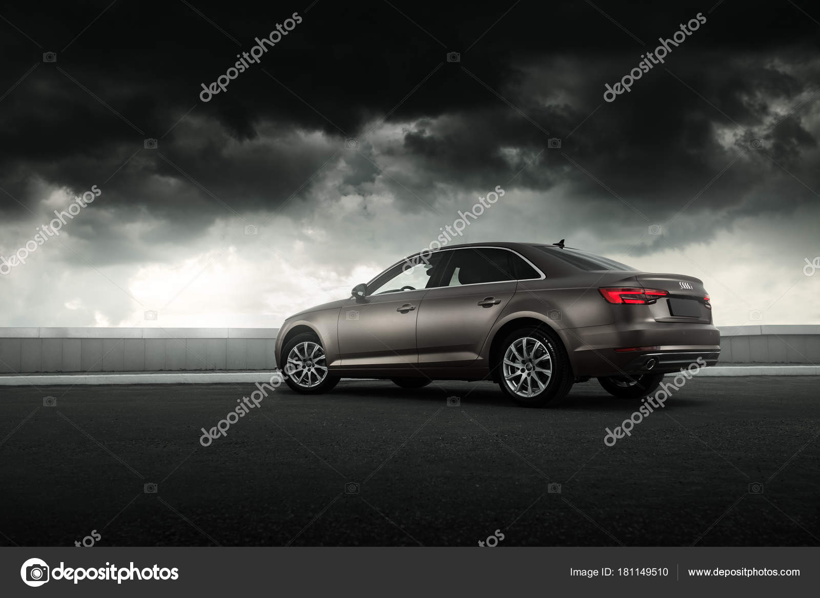 Car Audi A4 B9 Wrapped In Matte Vinyl Is Standing On The Parking Stock Editorial Photo C Man64 181149510