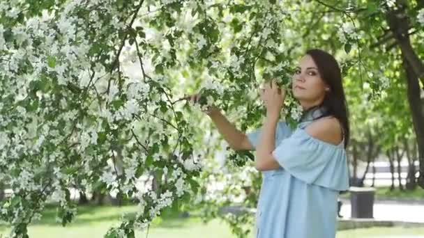 beautiful girl in a dress with a apple at the apple tree