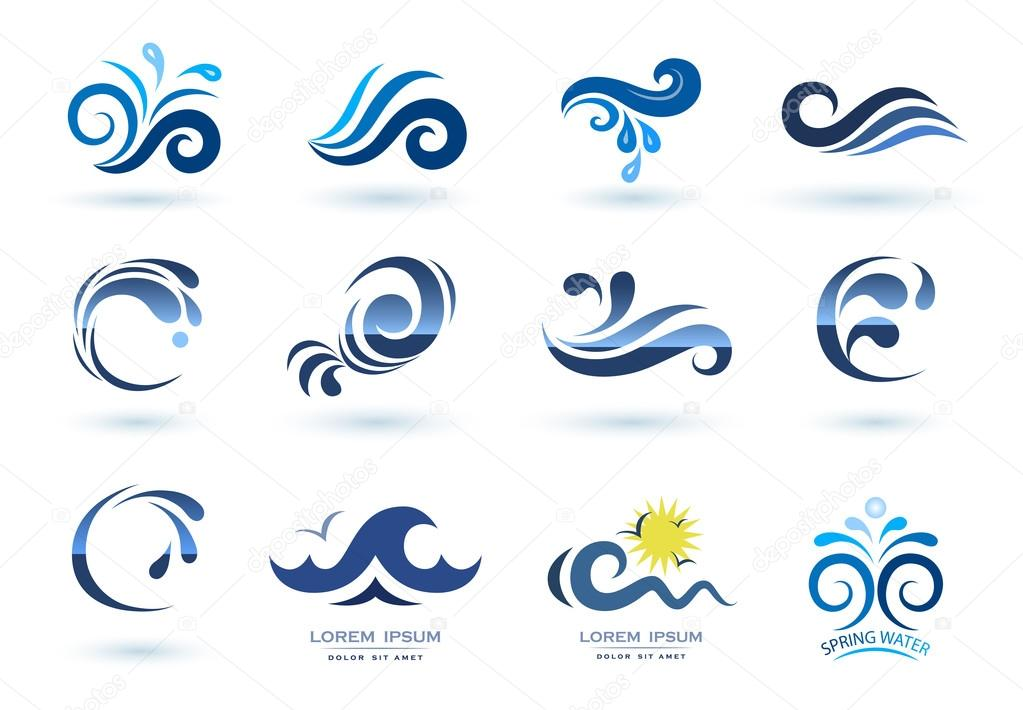 Set Of Waves Symbols Stock Vector Alexcosmos 127975036