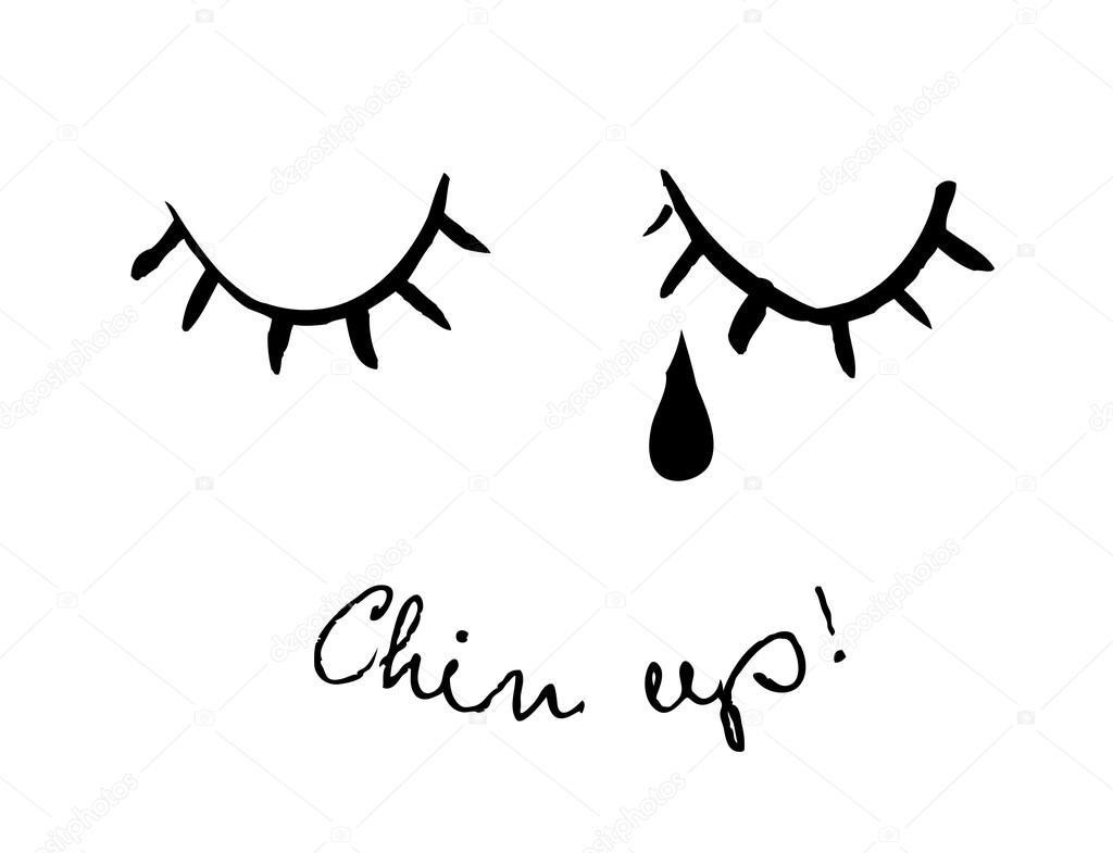 closed eyes and tear ストックベクター alexcosmos 127977838