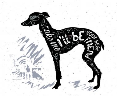 silhouette of dog with lettering