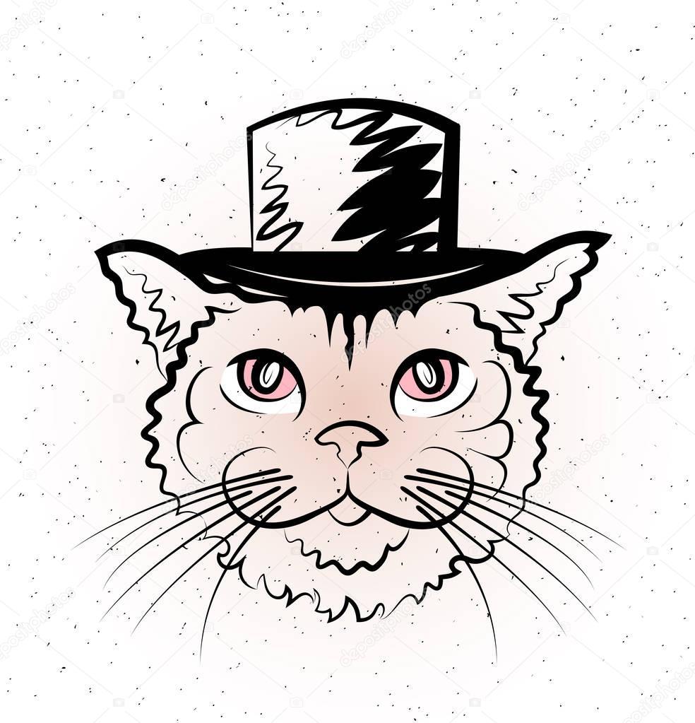 dibujo de gato en el sombrero — Archivo Imágenes Vectoriales ...
