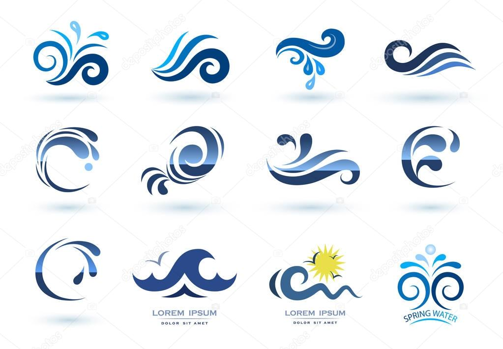 Set Of Wave Symbols Stock Vector Alexcosmos 128965904