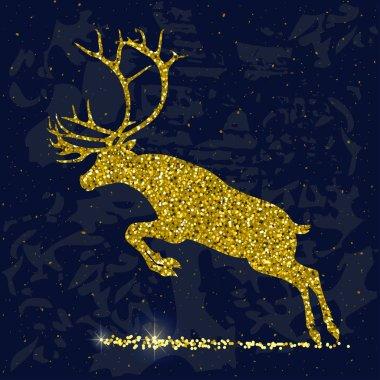 gold glittering leaping deer