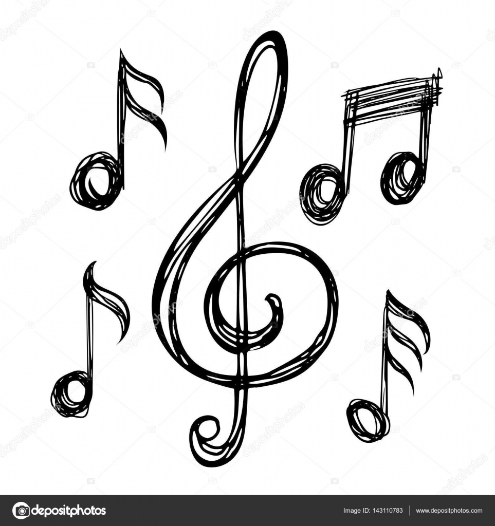 Music notes sketches stock vector