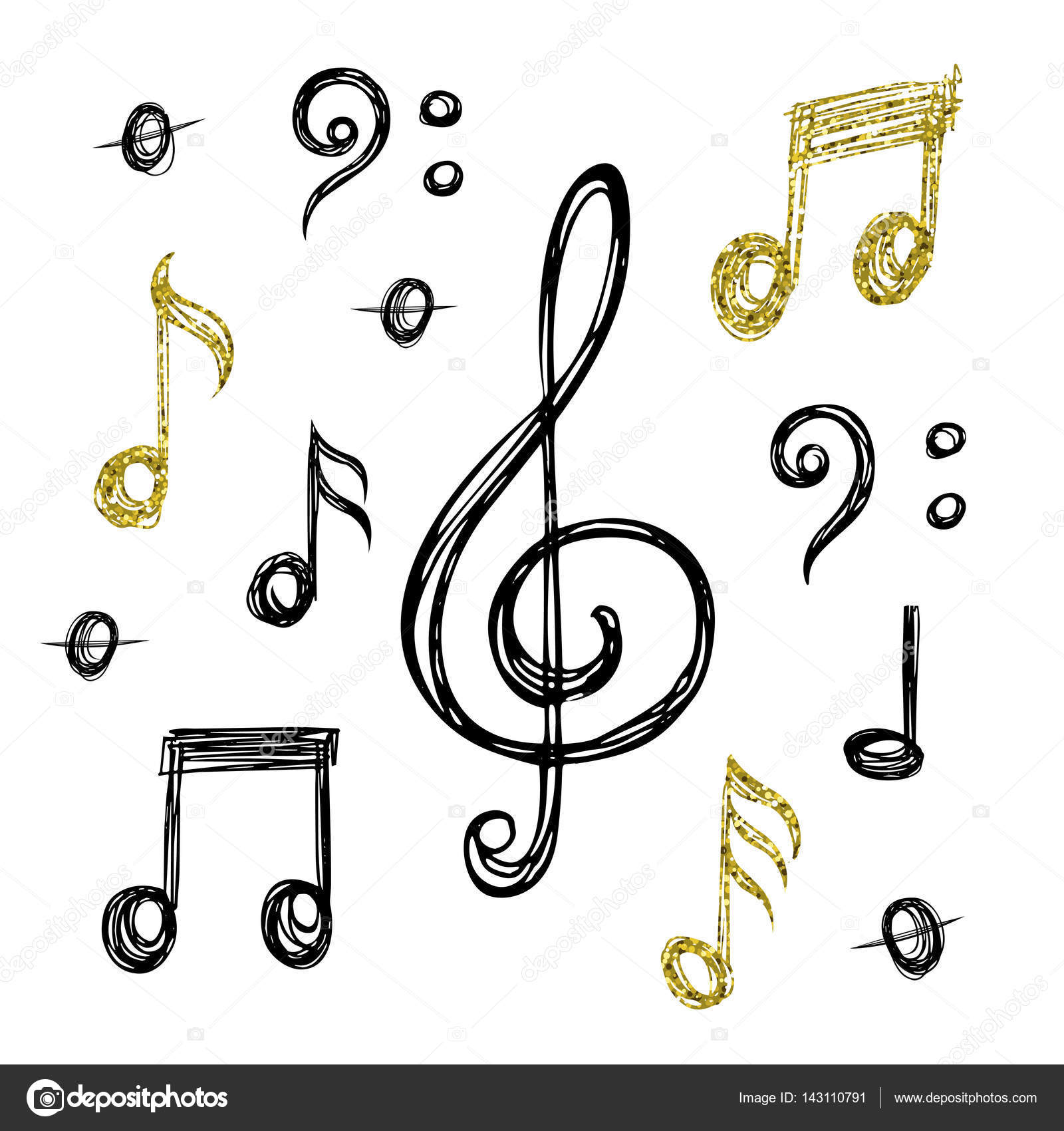 Sketches of music notes with glitter vector by
