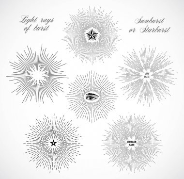 sunbursts and starbursts with symbols