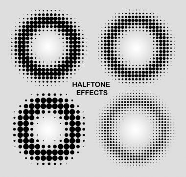 halftone effects circles set