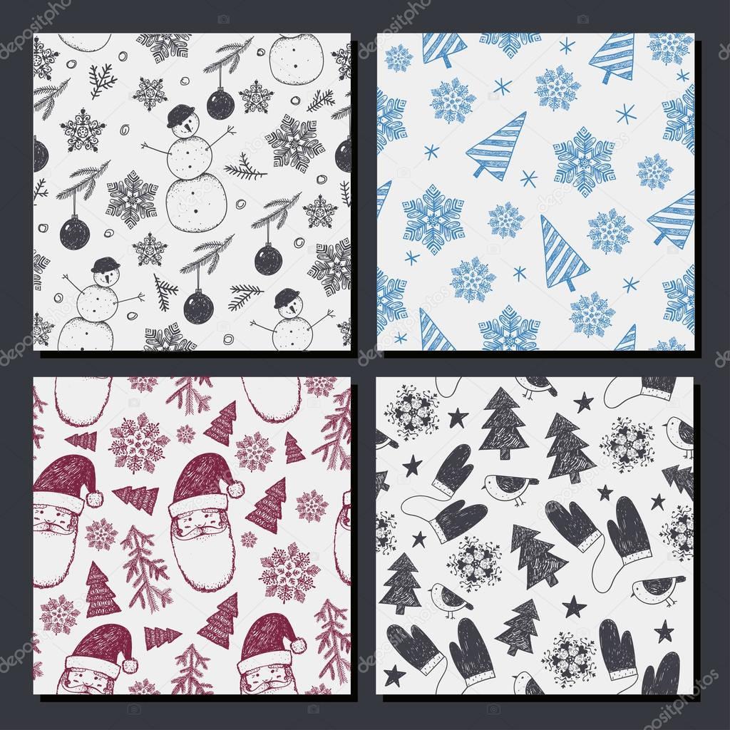 conjunto de Navidad sin costura, patrones de año nuevo — Archivo ...