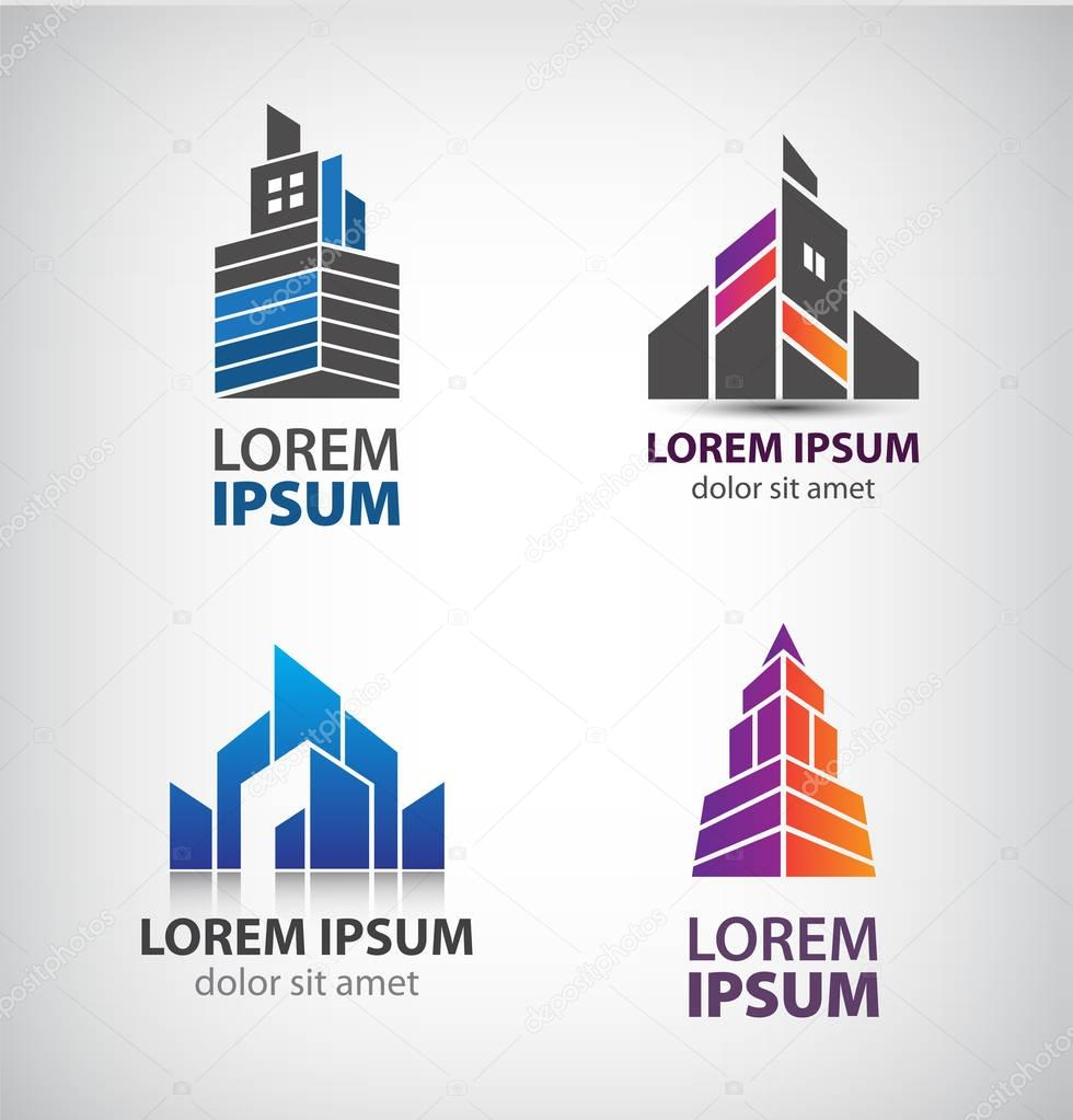 set of building logos