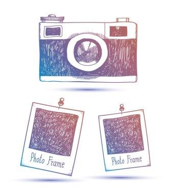 Vector retro hand drawn hipster photo camera isolated stock vector