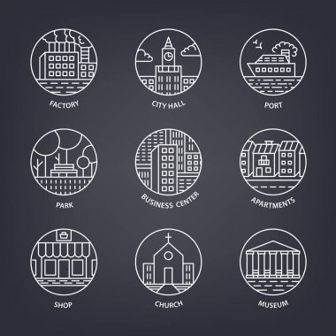 set of buildings city icons