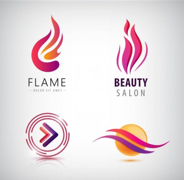 colored initial logos for beauty salon