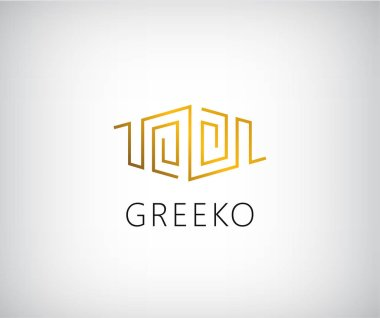 golden initial logo in greek style