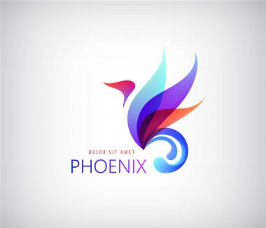 colored initial logo in form of phoenix