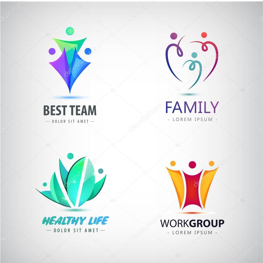 colored initial human logos