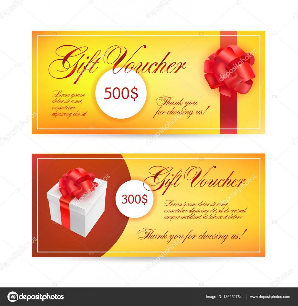 Gutschein Vorlage mit roter Schleife — Stockvektor © Marylia #136252784