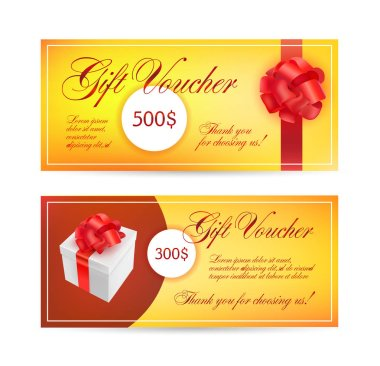 Coupon template with red bow