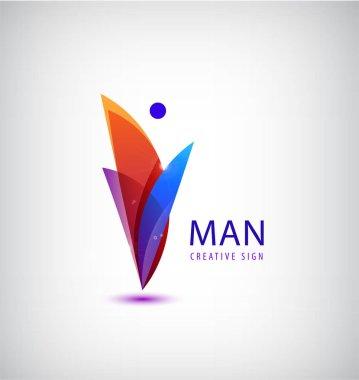 abstract man logo icon