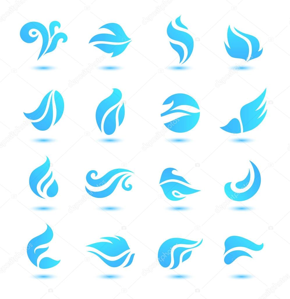 set of abstract blue flow logos