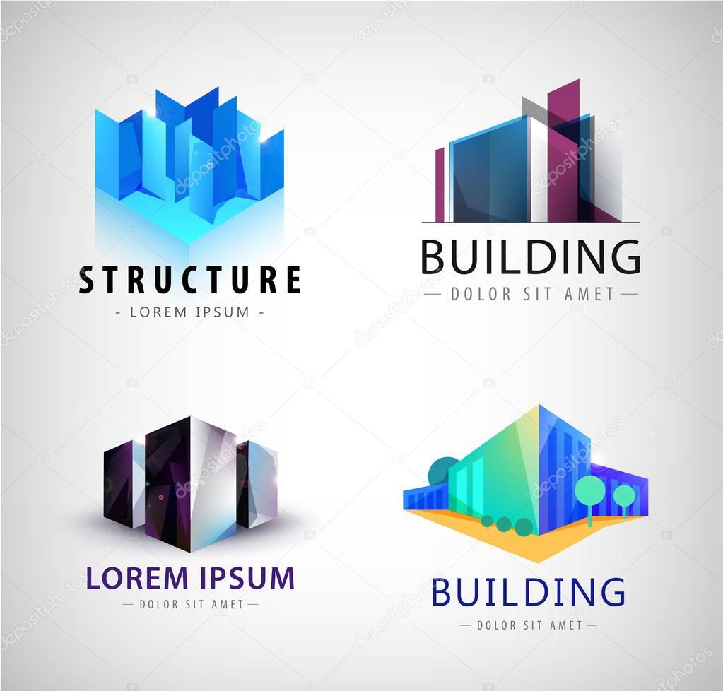set of building logos