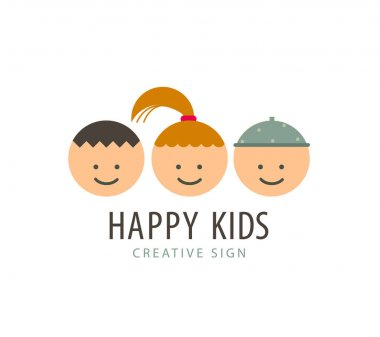 Vector 3 kids faces, funny cartoon, boys and girl logo, icon clip art vector