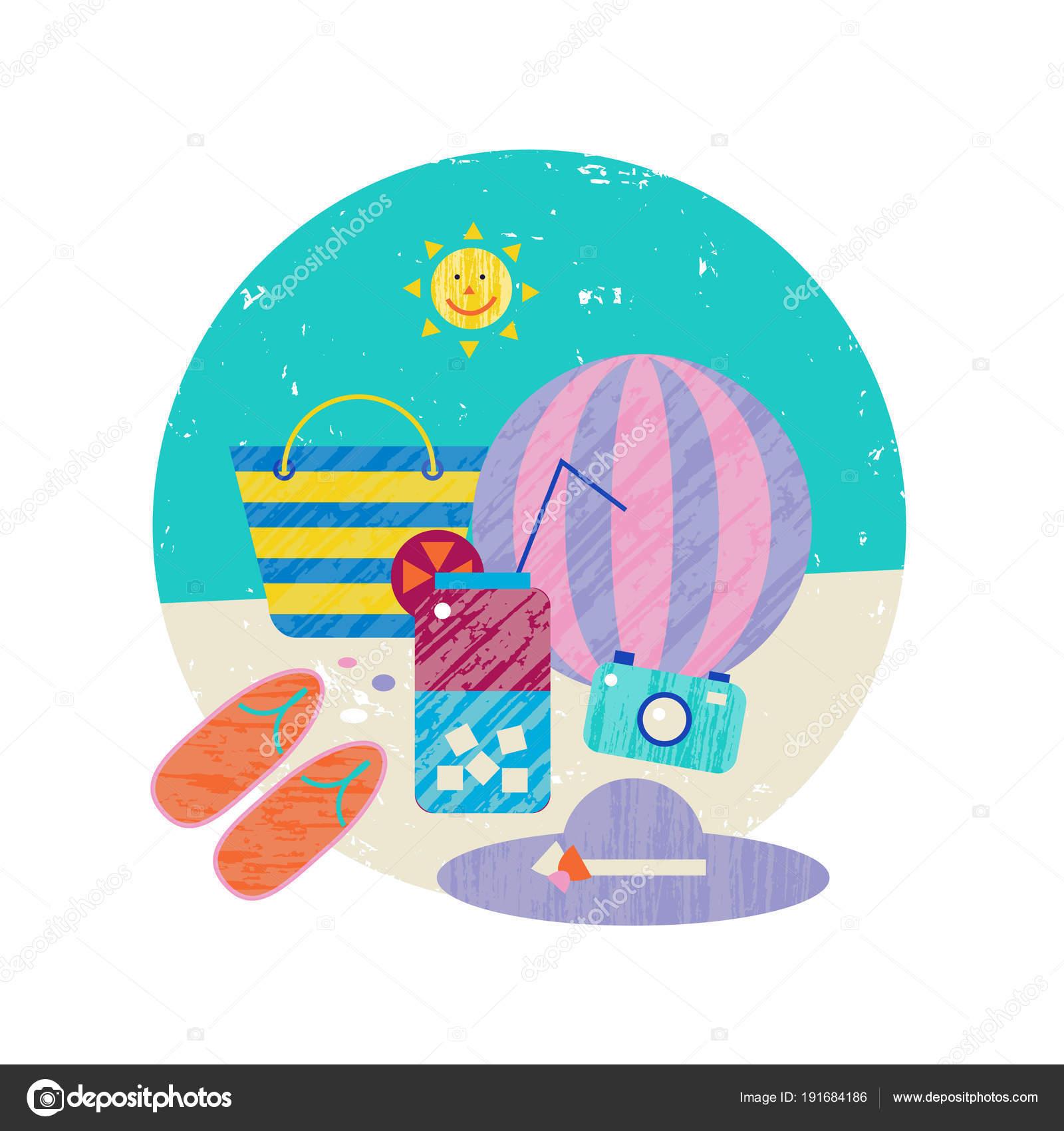Ilustración Vector Colorido Fondo Del Tema Verano Tiempo Vacaciones ...