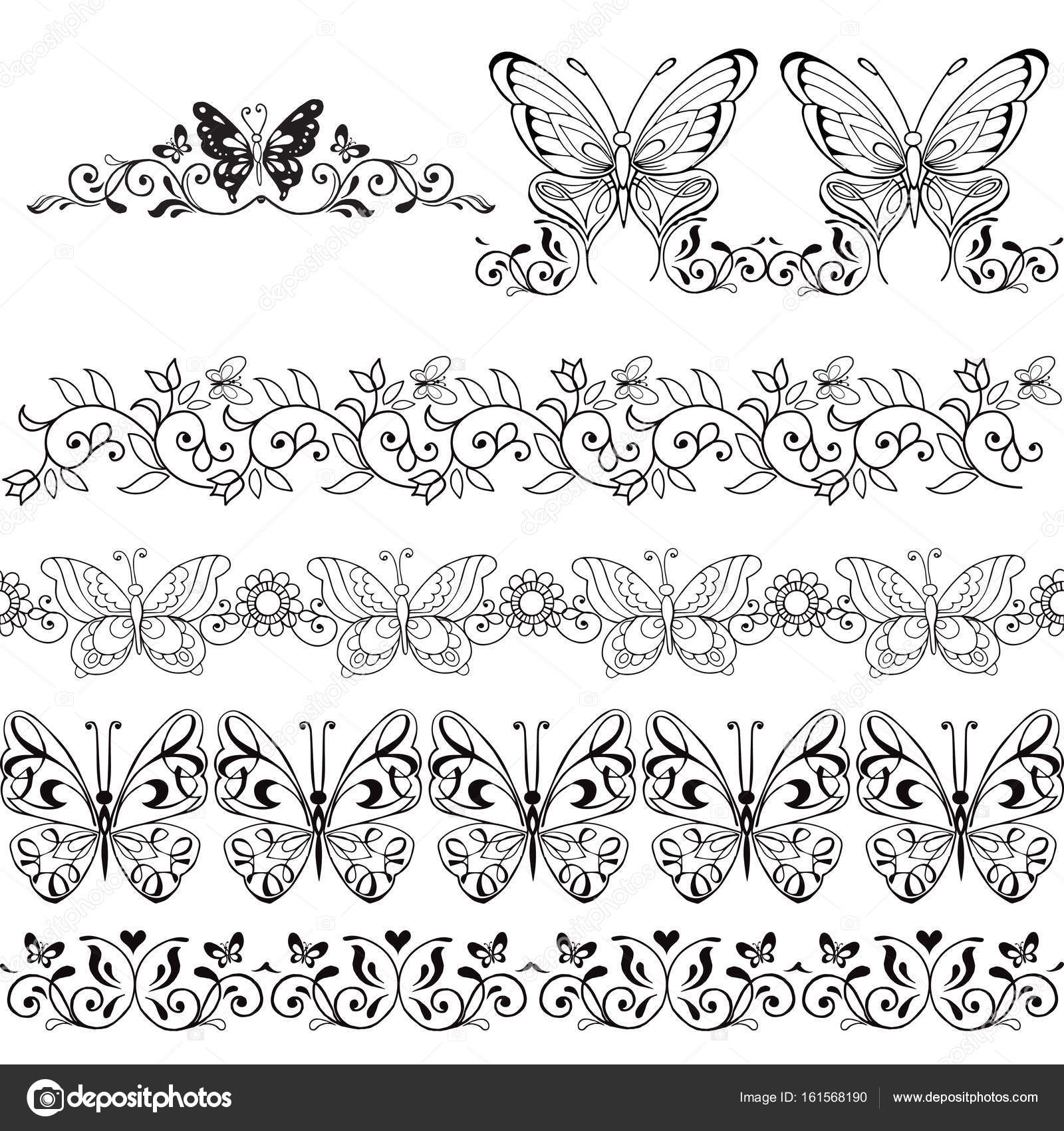 f3aed61e068ef Set of floral borders with butterflies / Design elements / Tattoos — Stock  Vector