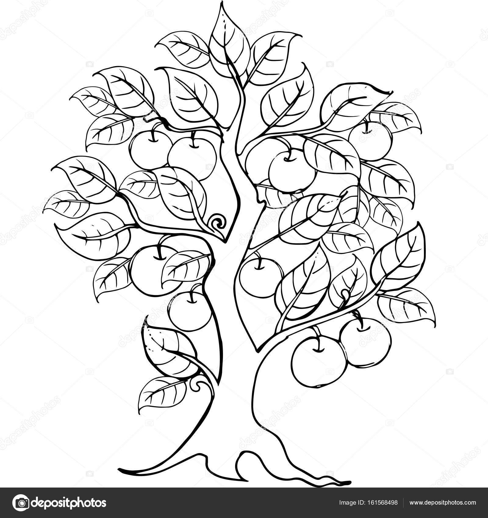 Dibujo de Manzano para el anti estrés para colorear página de manos ...