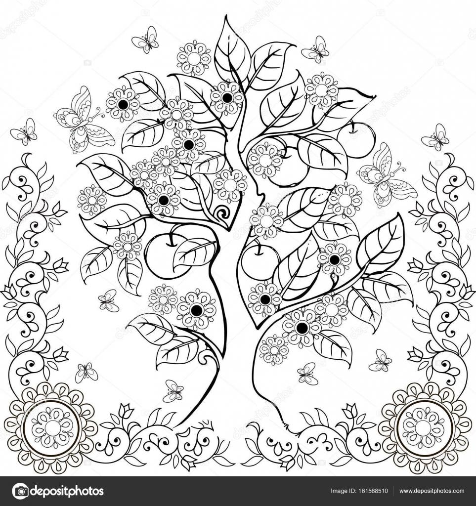 Dibujo manos árbol con flores y manzanas. Primavera. Libros para ...